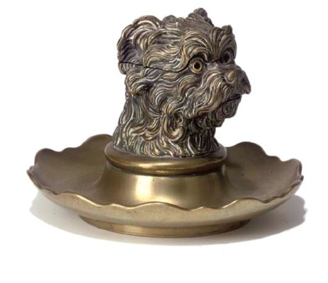 A VICTORIAN BRASS INKWELL
