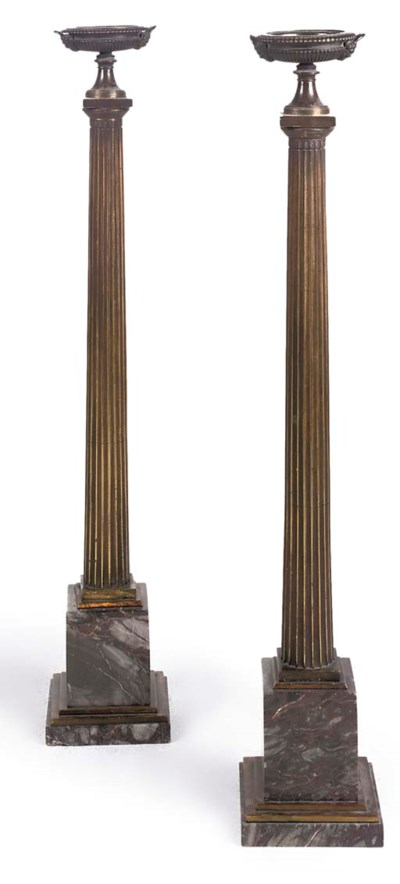A PAIR OF BRONZE AND MARBLE OR