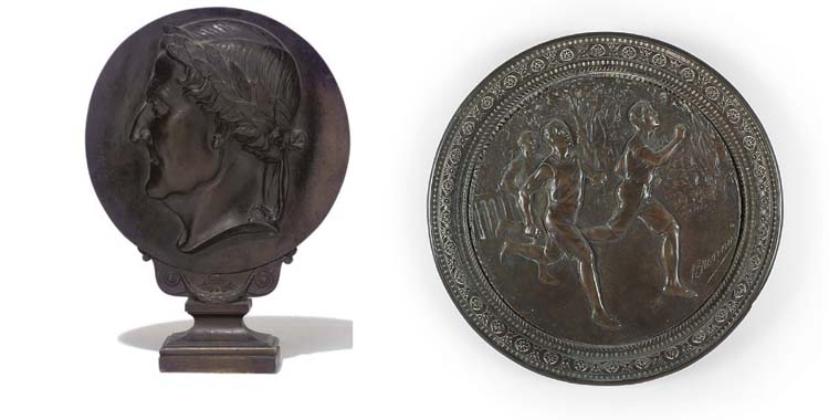A FRENCH BRONZE BAS-RELIEF MED