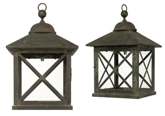 A PAIR OF COPPER HALL LANTERNS