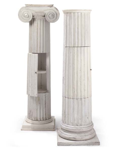 TWO WHITE PAINTED WOOD FLUTED