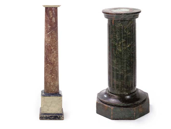 A PAINTED WOOD FAUX MARBLE PED