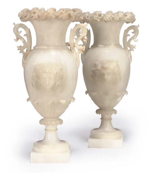 A PAIR OF ITALIAN ALABASTER VA