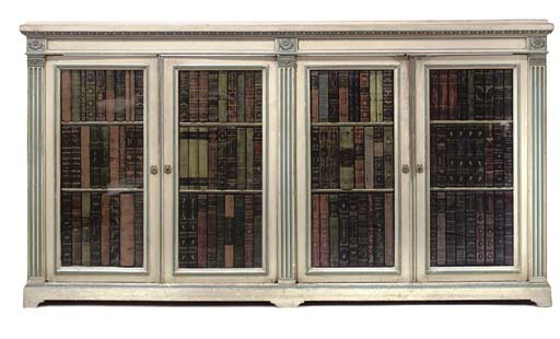 A FRENCH GREY PAINTED BOOKCASE