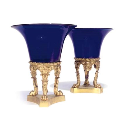 A PAIR OF GILT METAL AND COLBA