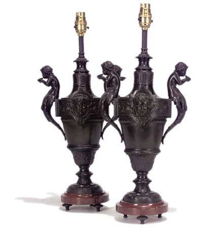 A PAIR OF BRONZED METAL AND RO