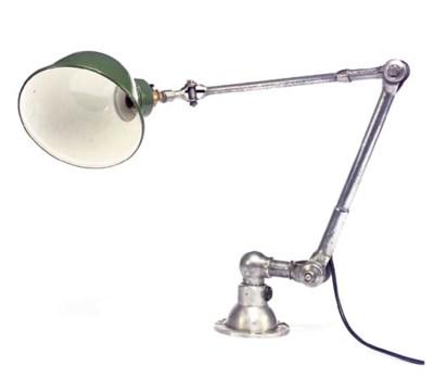 A STEEL AND ENAMEL DESK LIGHT