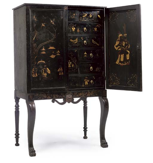 A LATE REGENCY BLACK LACQUER A