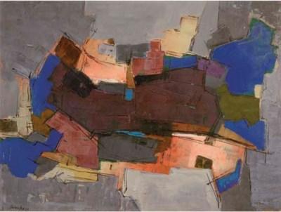 Composition (bleu et grise) (H