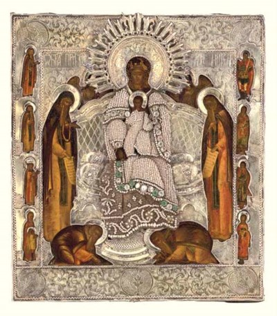 ENTHRONED MOTHER OF GOD WITH S