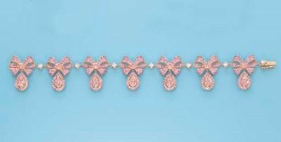 A PINK SAPPHIRE AND DIAMOND 'B