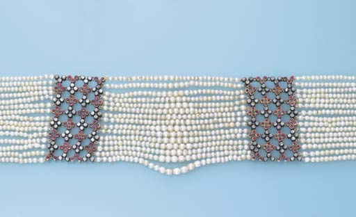 AN ANTIQUE SEED PEARL, DIAMOND