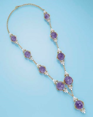 AN ANTIQUE AMETHYST AND ENAMEL