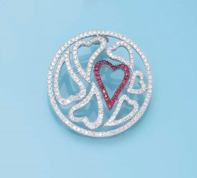 A DIAMOND AND RUBY PENDANT, BY