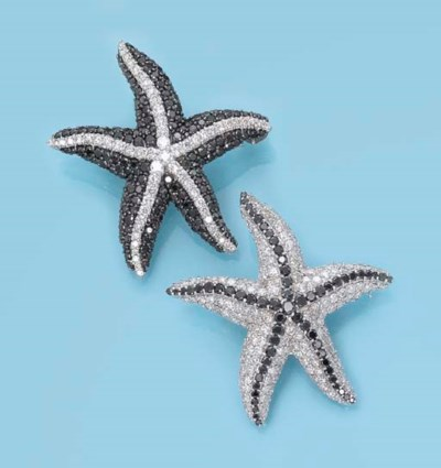 A PAIR OF DIAMOND 'STAR FISH'