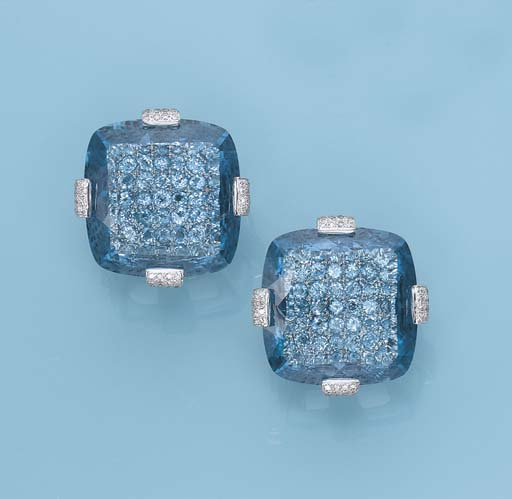 A PAIR OF TOPAZ AND DIAMOND EA