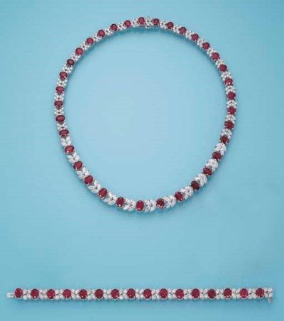 A RUBY AND DIAMOND SET