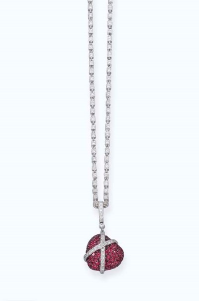 A RUBY AND DIAMOND HEART-PENDA