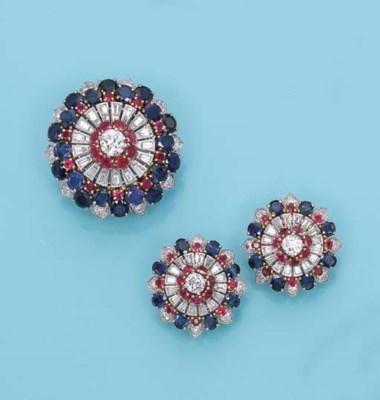 A DIAMOND, SAPPHIRE AND RUBY C