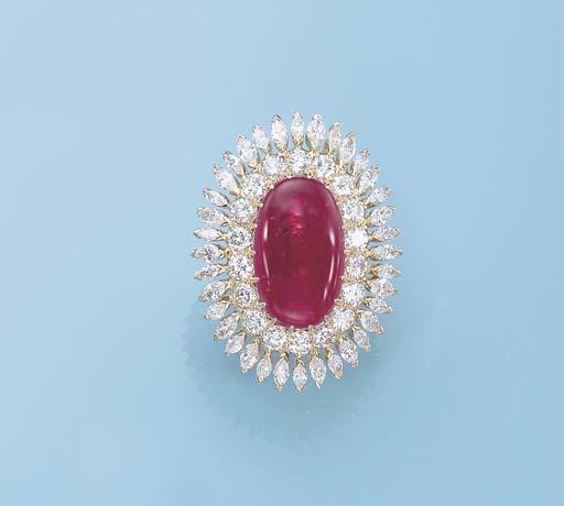 A RUBY AND DIAMOND RING, BY YO