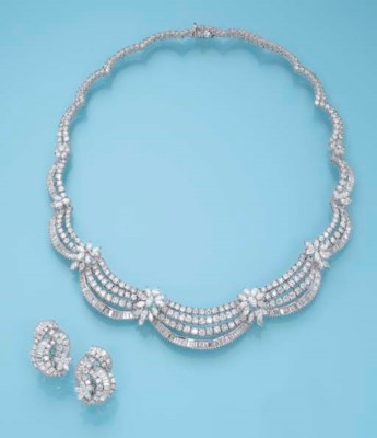 A DIAMOND NECKLACE AND A PAIR