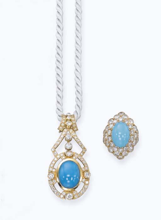 A DIAMOND AND TURQUOISE SET