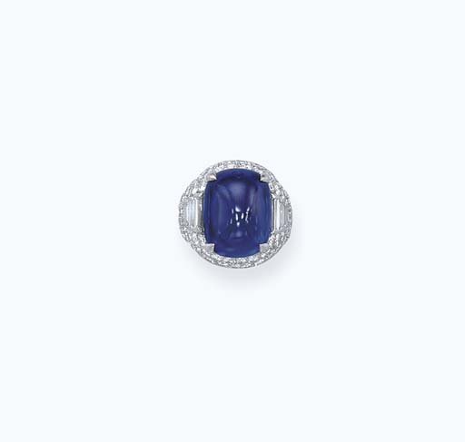 A SAPPHIRE AND DIAMOND RING, BY BULGARI