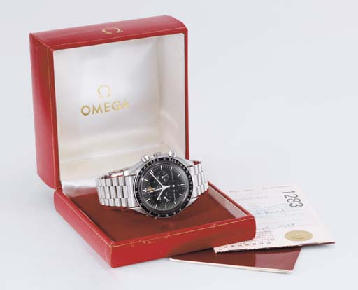 Omega. A rare stainless steel chronograph wristwatch with date, phases of the moon, bracelet and certificate