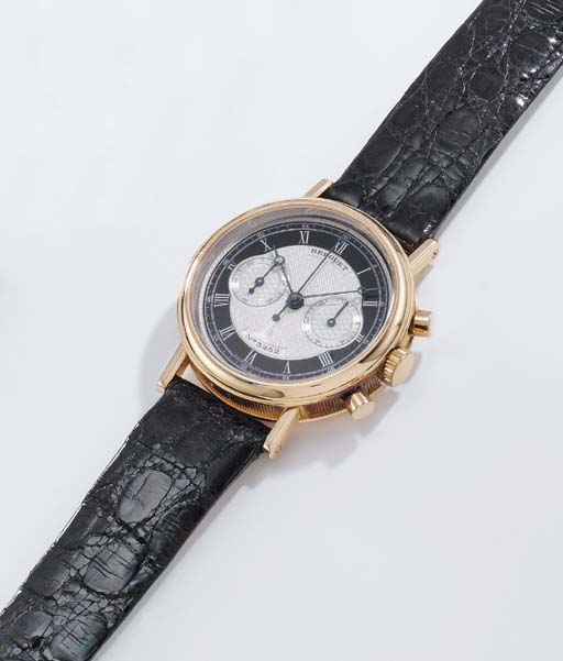 Breguet. A fine 18K pink gold chronograph wristwatch with unusual two-tone dial