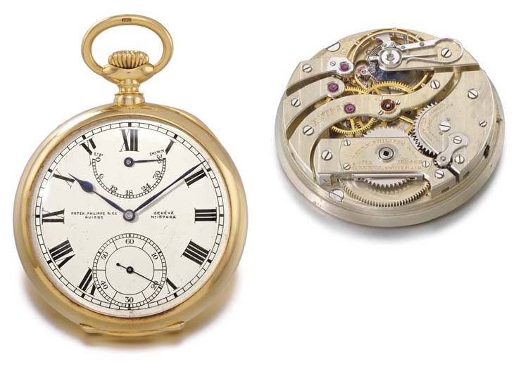 Patek Philippe. A very fine, rare and heavy 18K gold openface keyless lever deck watch with up and down indicator, Guillaume balance and Bulletin d'Observatoire