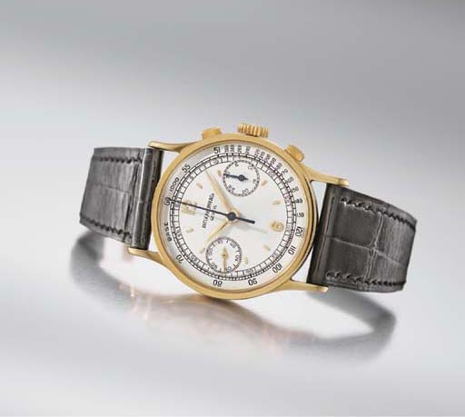 Patek Philippe. A fine and rare 18K gold chronograph wristwatch