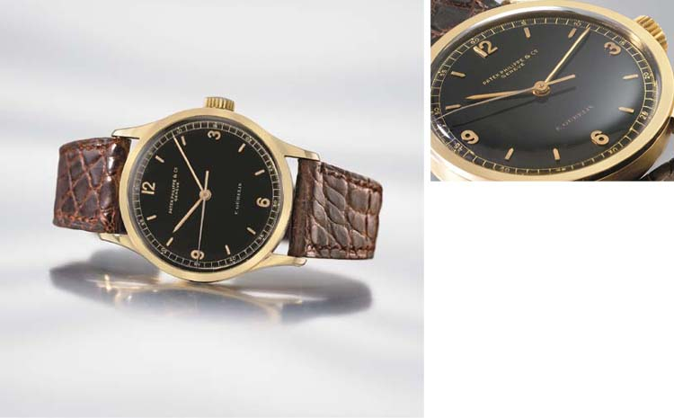 Patek Philippe. An extremely fine, rare and large 18K gold wristwatch with indirect sweep centre seconds and black dial