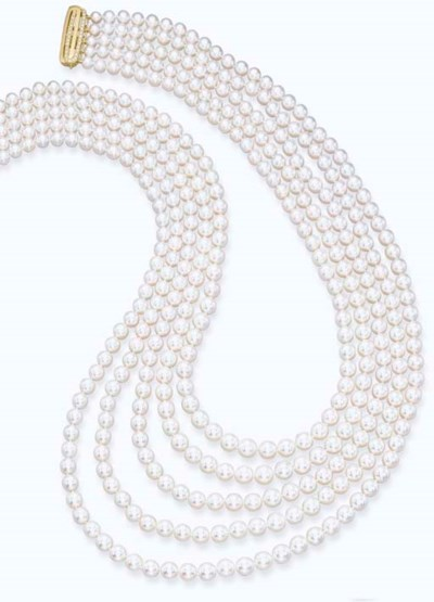 A FIVE-ROW CULTURED PEARL NECK