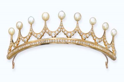 A DIAMOND AND PEARL TIARA, BY