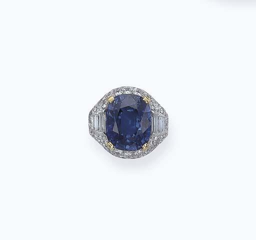A SAPPHIRE AND DIAMOND 'TROMBI