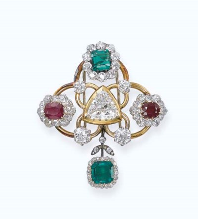 A DIAMOND, EMERALD AND RUBY BR