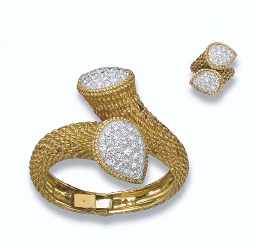 A GOLD AND DIAMOND SET, BY BOU