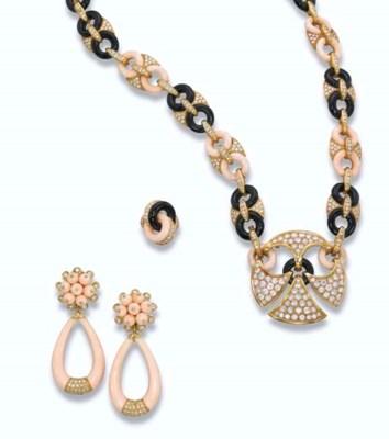 AN ONYX, CORAL AND DIAMOND SET