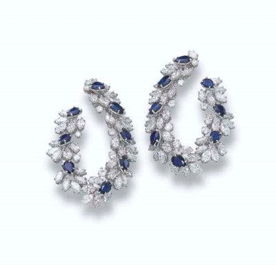 A PAIR OF DIAMOND AND SAPPHIRE