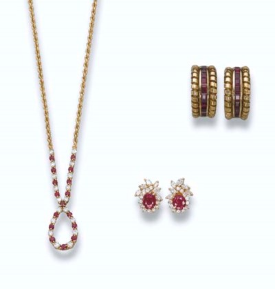 A PAIR OF RUBY EAR CLIPS, BY B