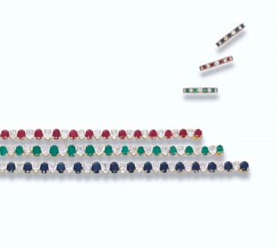 THREE GEM-SET LINE BRACELETS A