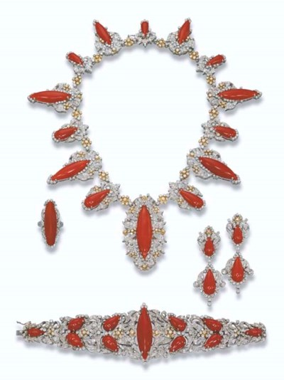 A RED CORAL AND DIAMOND SUITE