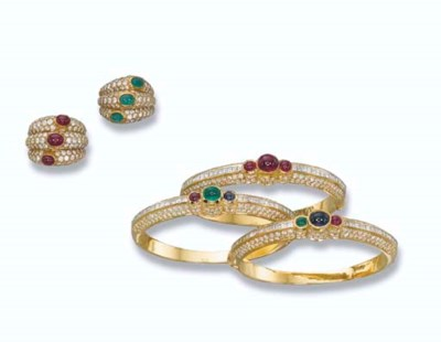 TWO DIAMOND AND GEM-SET RINGS,