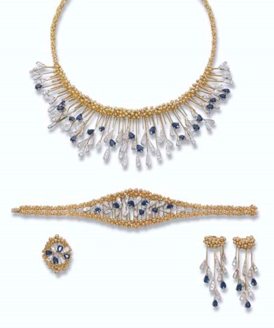 A SAPPHIRE, DIAMOND AND GOLD S