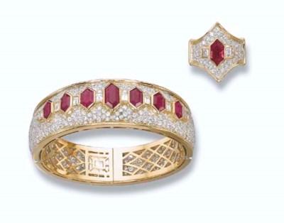 A RUBY AND DIAMOND SET