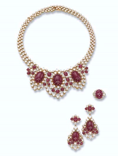 A RUBY AND DIAMOND SET AND A R
