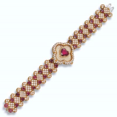 A LADY'S RUBY AND DIAMOND WRIS