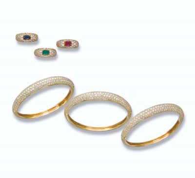 THREE DIAMOND BANGLES AND THRE