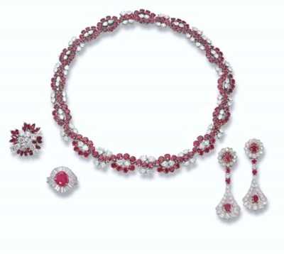 A RUBY AND DIAMOND NECKLACE/BR