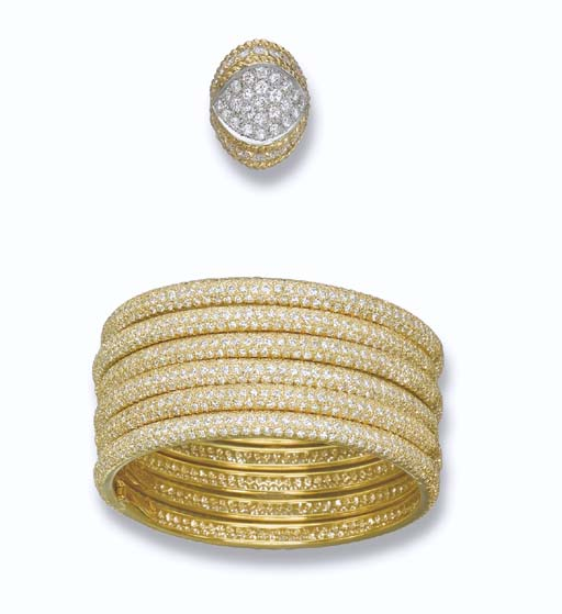 SIX DIAMOND BANGLES AND A RING